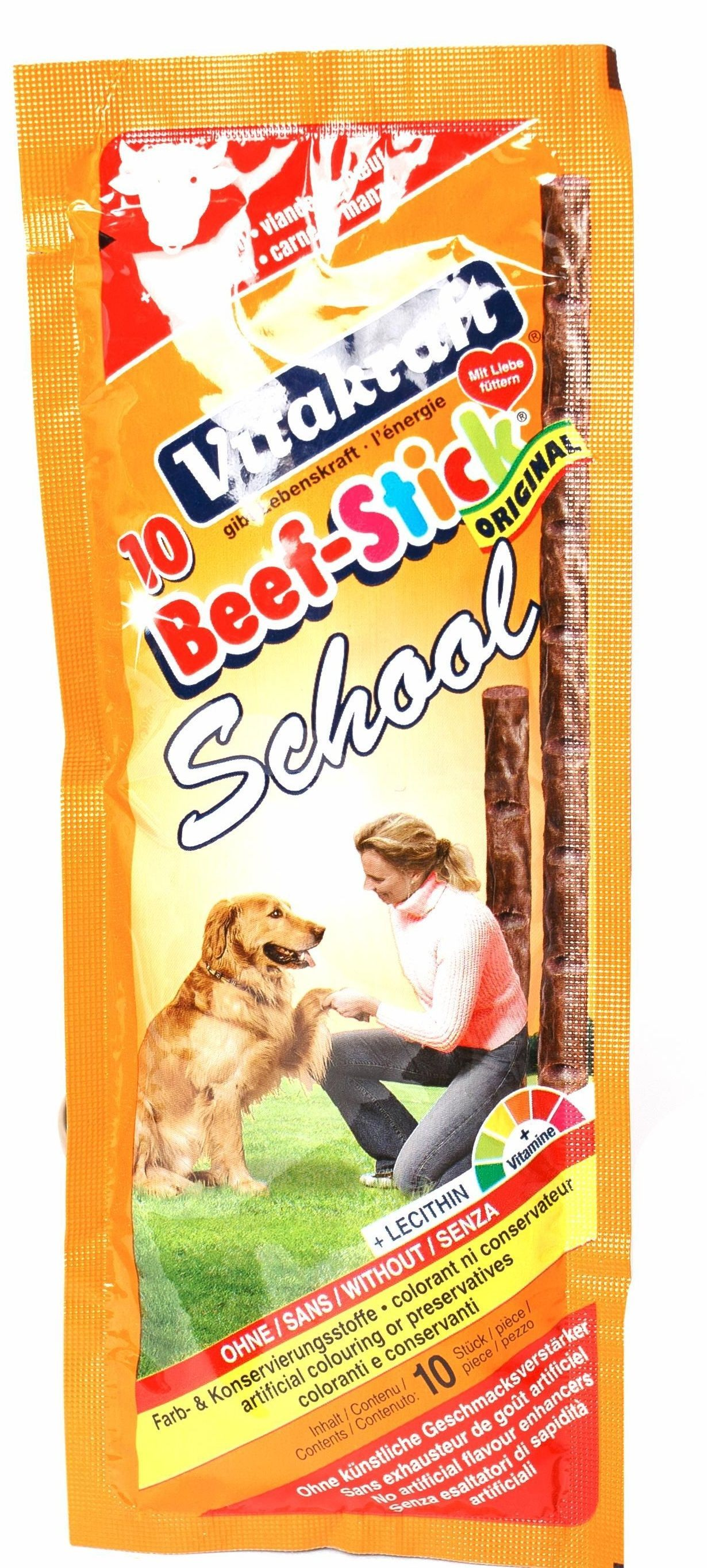 Колбаски Vitakraft Beef-Stick School для собак 20 г (10 шт, Говядина) цена